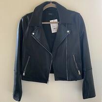 Retail 995 Nwt Theory Black Leather Moto Jacket Sz Medium 100% Lamb Leather Photo