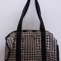 Retired Lesportsac Black & Beige Geometric Patterned Min Duffel Bag Purse Bag Photo