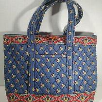 Retired Vera Bradley Blue Red Floral Emily 2004 Purse Handbag Travel Tote Bag Photo