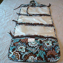 Retired Vera Bradley Java Blue Cosmetic Jewelry Travel Case Bag4 Pockets Photo