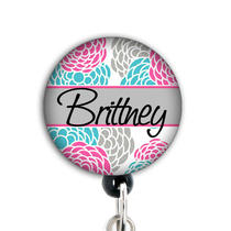 Retractable Id Badge Reel - Personalized - Blossom - Pink and Aqua Floral Photo