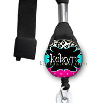 Retractable Id Badge Reel - Personalized - Lanyard - Damask Aqua Pink and Black Photo