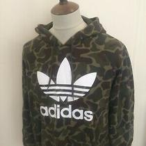 Retro Adidas Hooded Sweat Shirt Hoodie Top Size Large Camo Green Photo