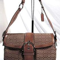 Retro Coach Logo Purse Shoulder Bag Handbag Baguette Signature Leather Key Tag Photo