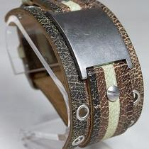 Retro Fossil Leather Over Leather Strap Wristband Cuff Bracelet With Buckle Photo