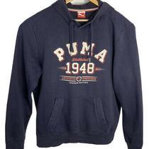 Retro Puma Sports Hoodie Jumper Size L 100% Cotton Dark Blue Photo