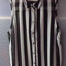 Retro Topshop Striped Sleeveless Blouse Uk8-10  Beetlejuice See Through Shirt Photo