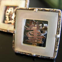 Retro Vintage 60s Signed Silver Chinese Character/mother of Pearl Cufflinks  Photo