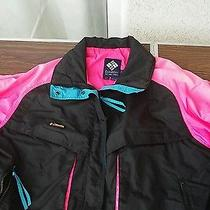 Retro Vtg Columbia Jacket Windbreaker Womens Xl Radial Sleeve Powder Keg Neon Photo