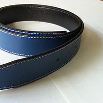 Reversible 100% Leather Belt Strap Blue-Black (Ok to 32mm Hermes Buckle) Photo