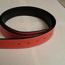 Reversible 100% Leather Belt Strap Orange-Black (Ok to 32mm Hermes Buckle) Photo