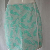 Reversible Lilly Pulitzer Sea Horses & Lions Aqua Blue Green Skirt  4 Photo