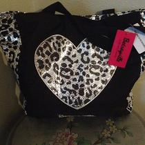 Reversible Silver and Black Betsey Johnson Shiny Sequin Leopard Print Tote Photo