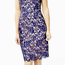 Review Sz 14 Bellevue Dress Blue/blush Brand New W Tags Fully Lined Length 99cm Photo