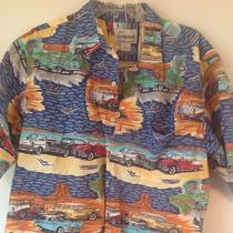 Reyn Spooner Classic  50's Cars Hawaiian Xl Cotton Red Blue Aqua  Photo