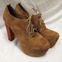 Rh5 Jeffrey Campbell Taupe Suede Platform Wood Heel Lita Ankle Boots Sz 8.5m Photo