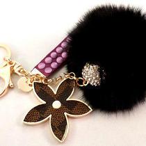 Rhinestone Bling Swarovski Key Chain Fob Phone Purse Charm Flower Fur Puff New Photo