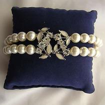 Rhinestone Bracelet Pearl Bracelet White Swarovski Pearl Bracelet B123 Photo