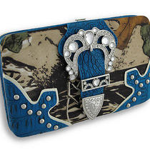 Rhinestone Buckle Forest Camo Flat Wallet With Croc Trim Color Blue Photo