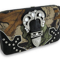 Rhinestone Buckle Forest Camo Flat Wallet With Croc Trim Color Black Photo