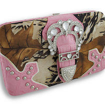 Rhinestone Buckle Forest Camo Flat Wallet With Croc Trim Color Fuchsia Photo