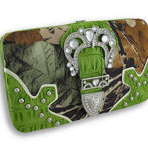 Rhinestone Buckle Forest Camo Flat Wallet With Croc Trim Color Green Photo
