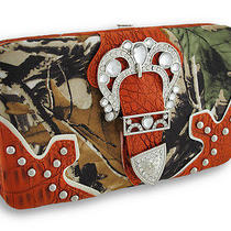 Rhinestone Buckle Forest Camo Flat Wallet With Croc Trim Color Orange Photo