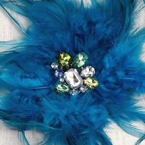 Rhinestone Crystal Brooch Lane Bryant Feather Sparkle Hair Jewel Blue Clip Clamp Photo