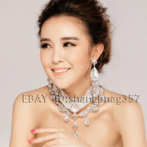 Rhinestone Imitation Pearl Bride Necklace Earrings Decorated 017 Photo