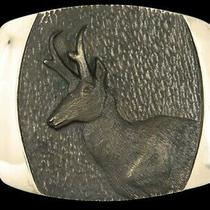 Ri09159 Nos Vintage 1980 Antelope Steven L Knight Art Solid Bronze Buckle Photo