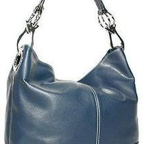Ring Accented Large Hobo Hand Bag Purse Handbag Hand Bag Purse Navy Photo