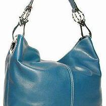 Ring Accented Large Hobo Handbag Purse Blue Photo