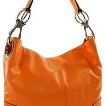 Ring Accented Medium Hobo Hand Bag Purse Handbag Hand Bag Purse Dark Orange Photo