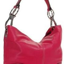 Ring Accented Medium Hobo Hand Bag Purse Handbag Hand Bag Purse Hot Pink Photo