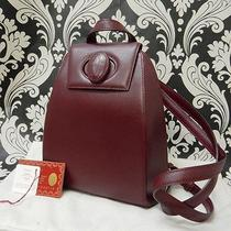 Rise-on Cartier Leather Burgundy Wine Red Backpack 9 Photo