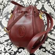 Rise-on Cartier Leather Burgundy Wine Red Handbag Shoulder Bag 8 Photo