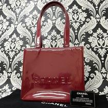 Rise-on Chanel Enamel Burgundy Wine Red Handbag Tote Bag 985 Photo