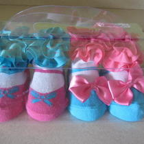 Rising Star Infant Baby Girl Fancy Bootie Socks Shoes 2 Pairs Brand New Photo