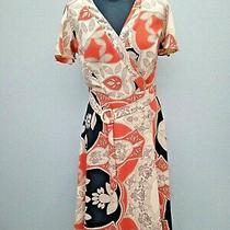River Island Orange / Blush Print Wrap Dress Size 1o Photo