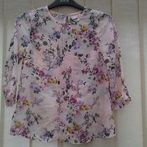 River Island Top Blush Pink Chiffon Floral 3/4 Sleeves Keyhole Back Excel Cond Photo