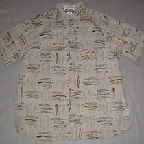 River Lodge Lures Bait Jigs Fossil Short Sleeve Shirt Columbia Fishing L Large Photo