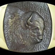 Rj07157 Nos Vintage 1978 Buffalo Steven L. Knight Solid Bronze Belt Buckle Photo