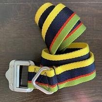 Rlx Golf Ralph Lauren Webbed Nylon Belt - Size Large Navy Green Yellow Stripe Photo