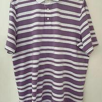 Rlx Ralph Lauren Golf Purple White Stripe Polo Shirt Short Sleeve Xl Photo