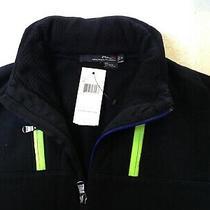 Rlx Ralph Lauren Men Hoodie Sweatshirt Jet Size S Zip Front Black W Neon Green Photo