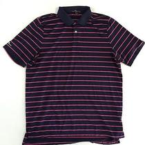 Rlx Ralph Lauren Men's Blue Pink Striped Polyester Golf Sport Polo Shirt Large Photo