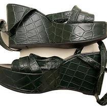 Robert Clergerie Bottle Green Faux Croc Platform Ankle Wrap Wedges 8 Photo