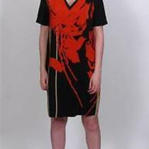 Robert Rodriguez 100% Silk Red Abstract Dress Sexy Mini Shift v-Neck Perfect10 Photo