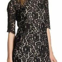 Robert Rodriguez Black Floral Lace Boatneck 3/4 Sleeve Shift Dress Size 6 Photo