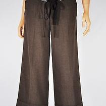 Robert Rodriguez Brown Cropped Pants With Cuff Sequin & Ribbon Belt Size 2 Photo